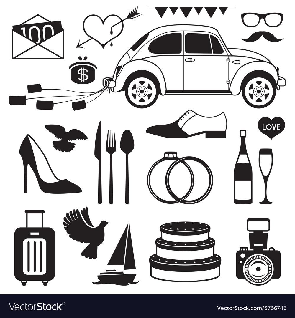 Wedding set icon vector