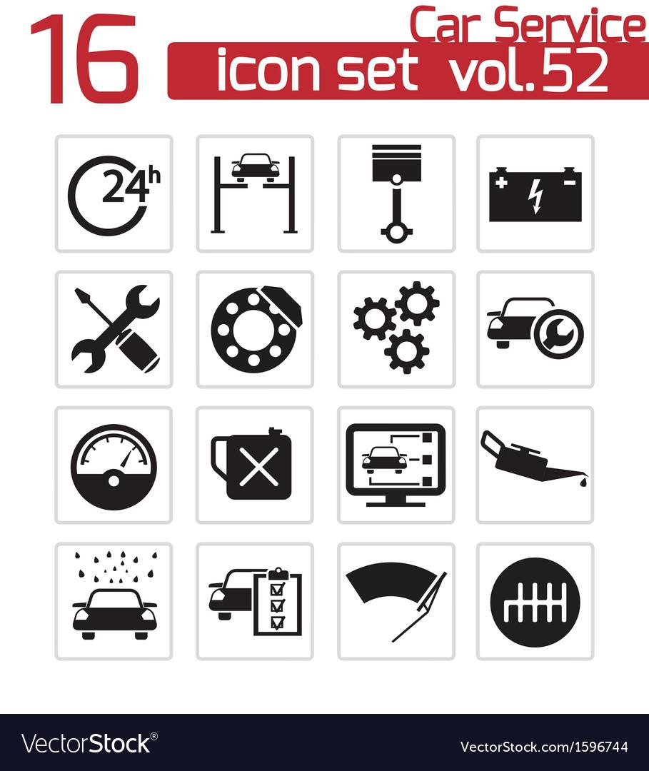 Black car service icons set vector