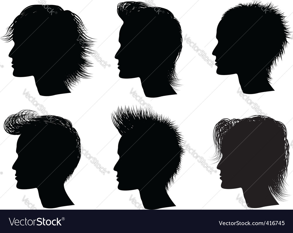 Silhouette men hairstyle vector