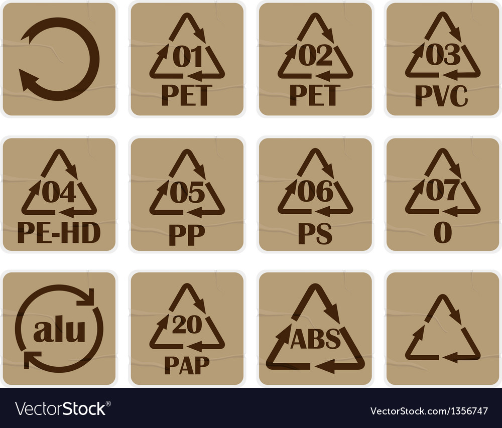 Recycling code stickers vector
