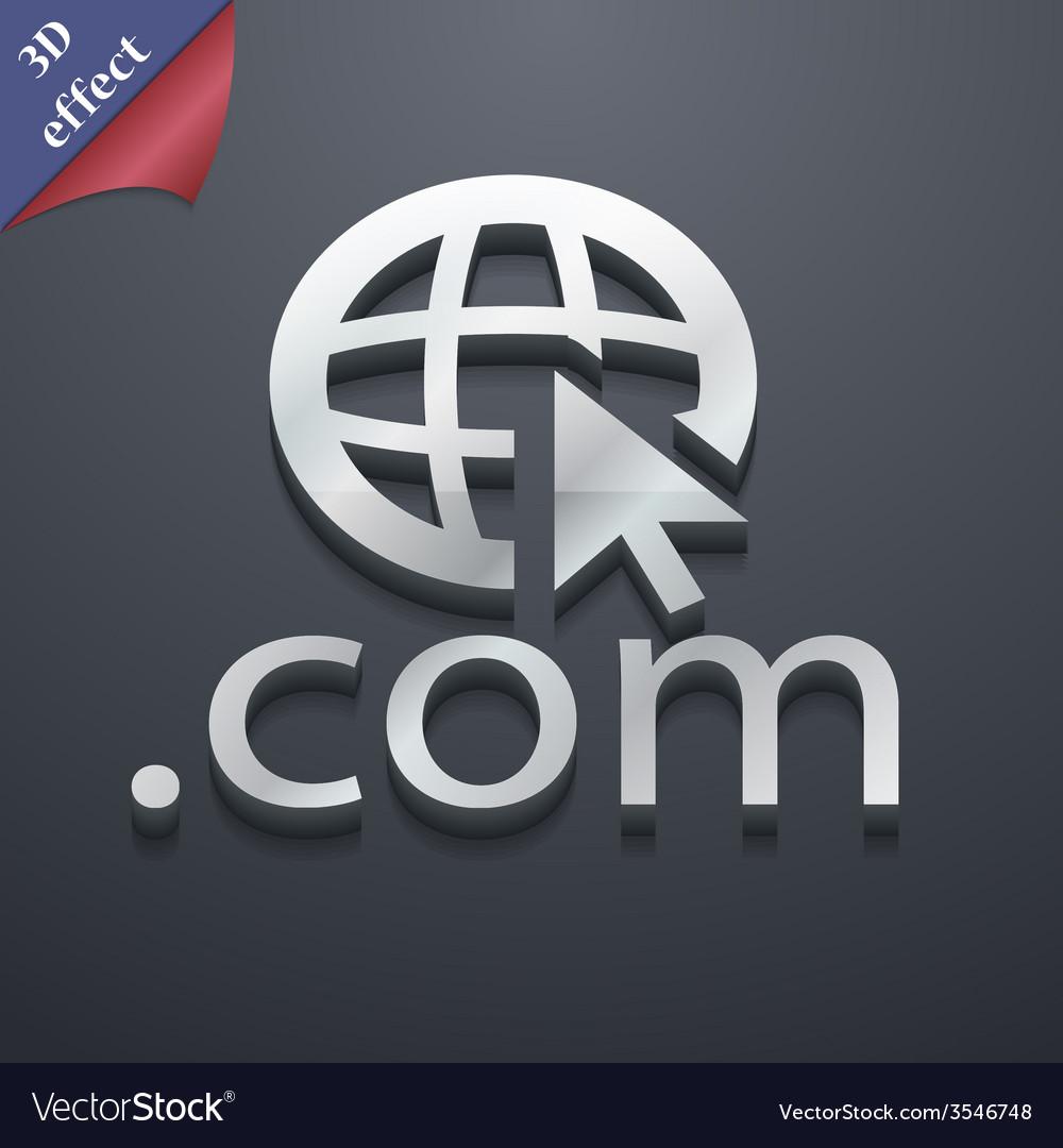 Domain com icon symbol 3d style trendy modern vector