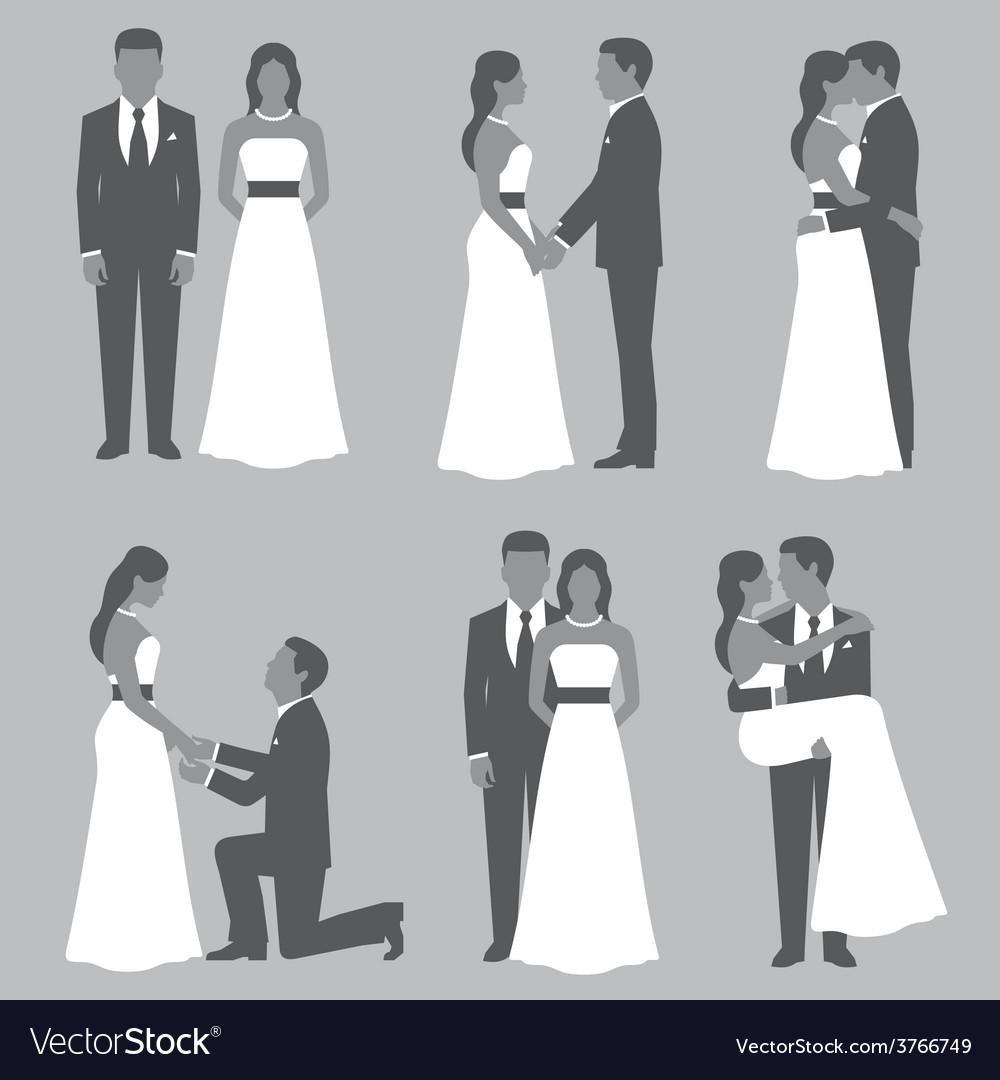 Set of bride and groom vector