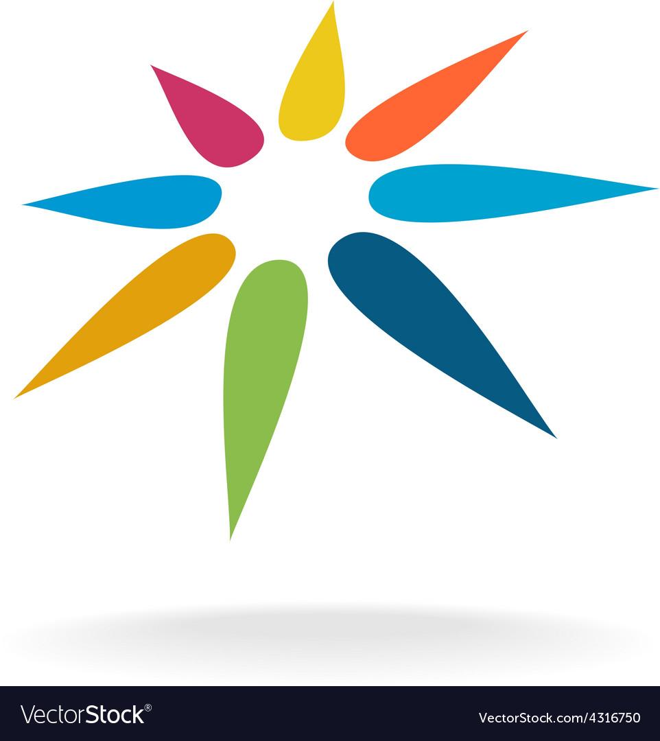 Abstract rainbow colors flower logo template vector