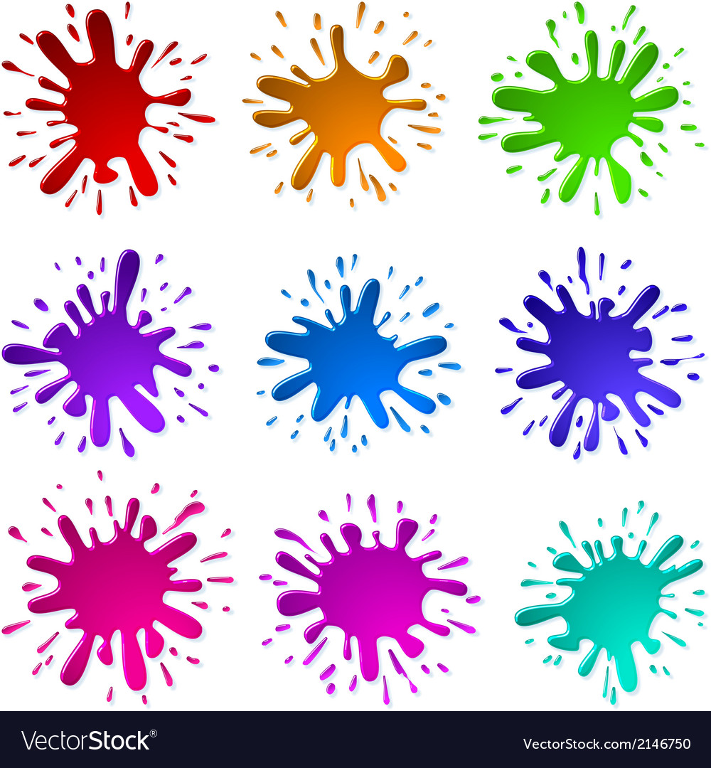 Paint ink blots splashes set vector