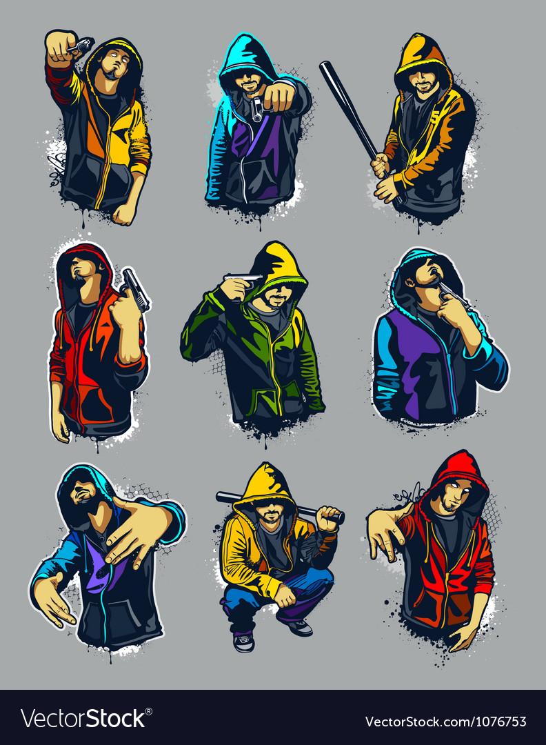 Set of hoody gangsters vector