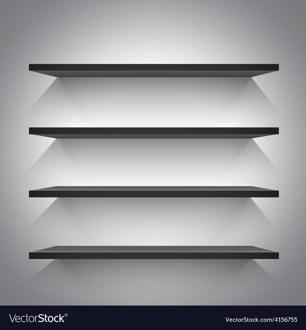 Empty black shelves vector