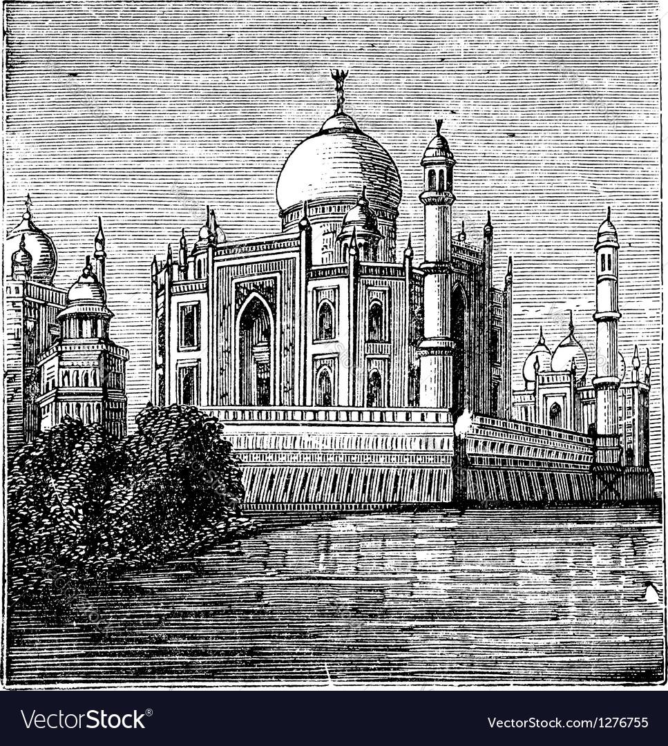 Taj mahal india old engraved vector