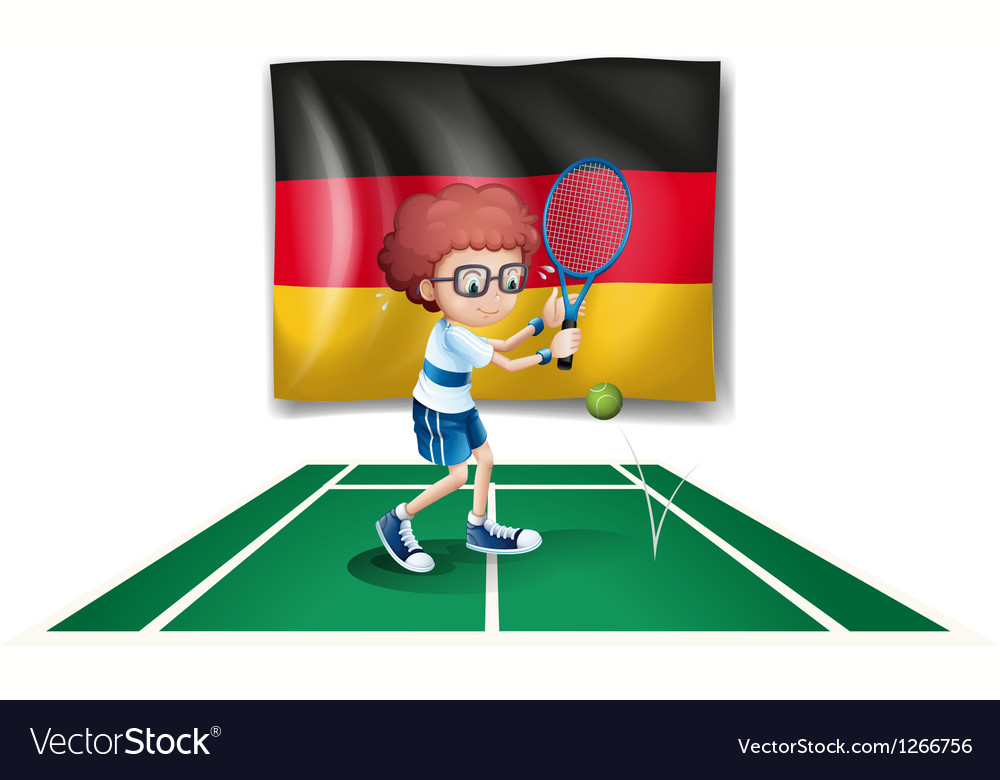 A tennis player with the flag of germany vector