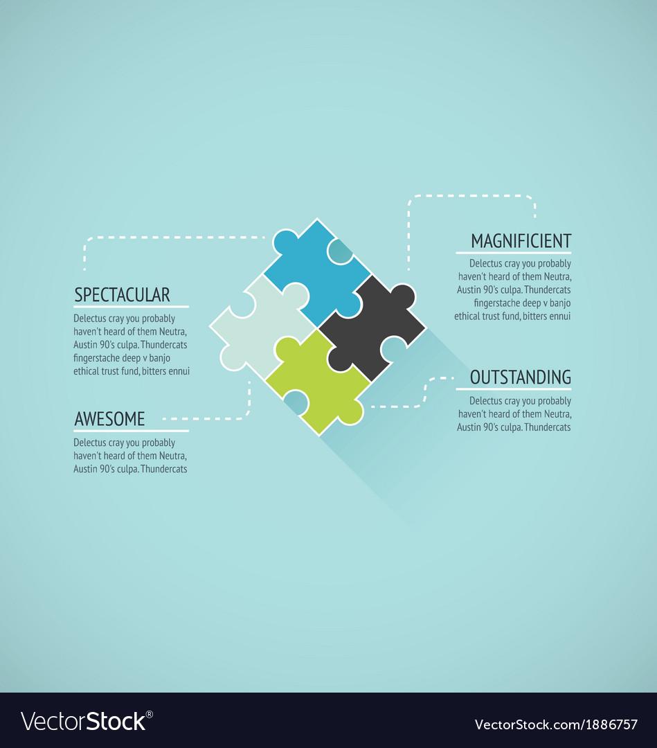 Puzzle piece flat infographics business concept ve vector
