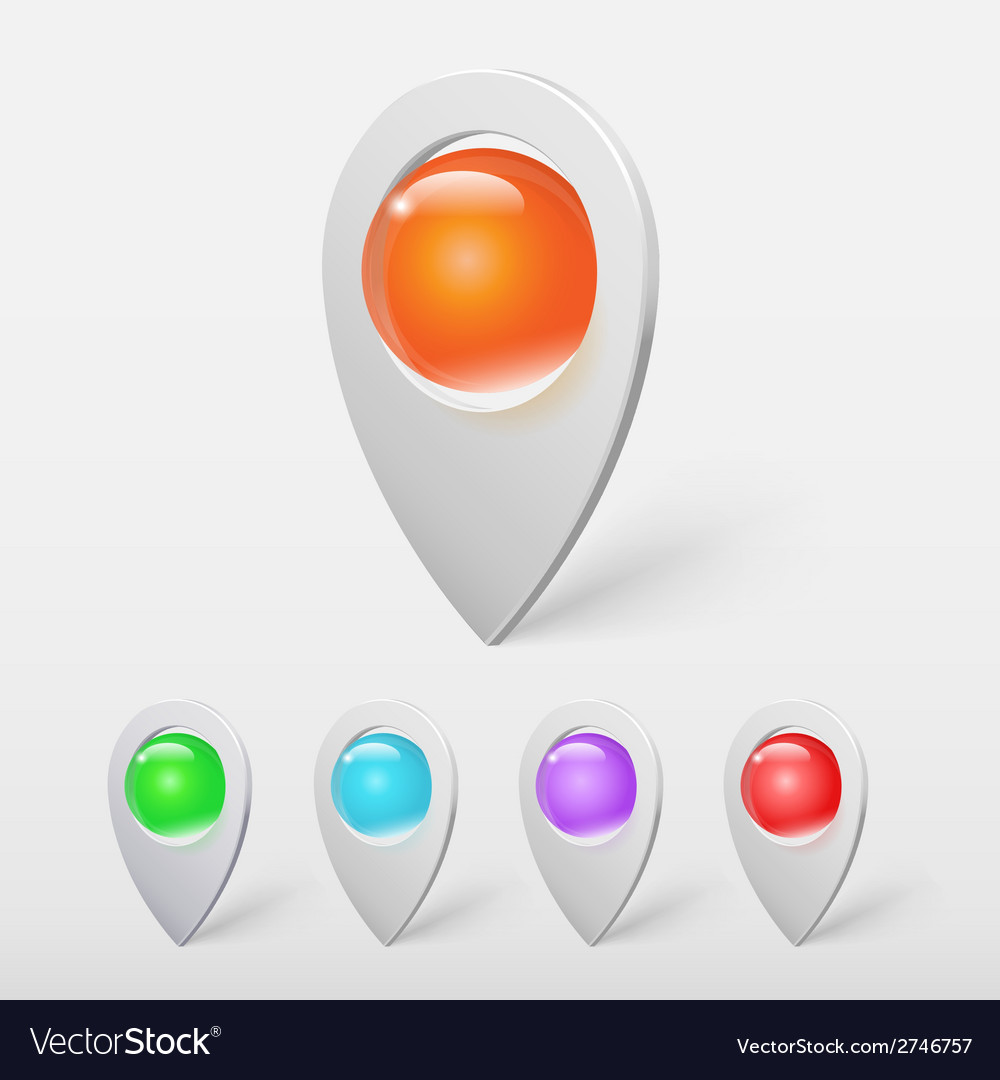 Realistic crystal ball colorful pointers or pins vector