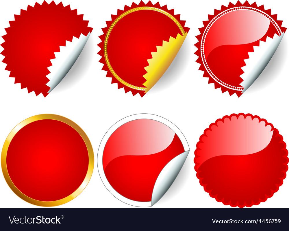 Red sticker set vector