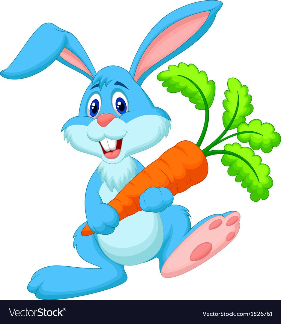 Happy rabbit cartoon holding carrot vector