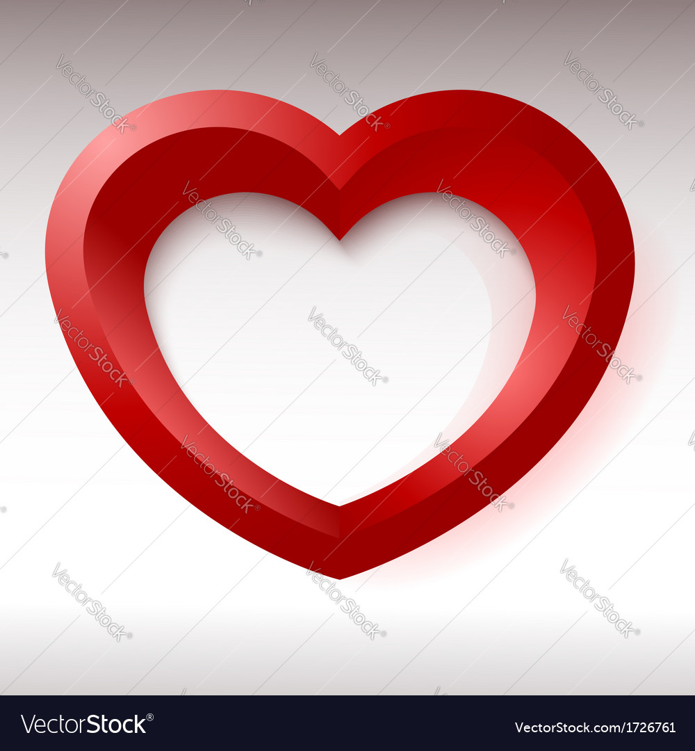 Red heart 3d object for your design and art vector