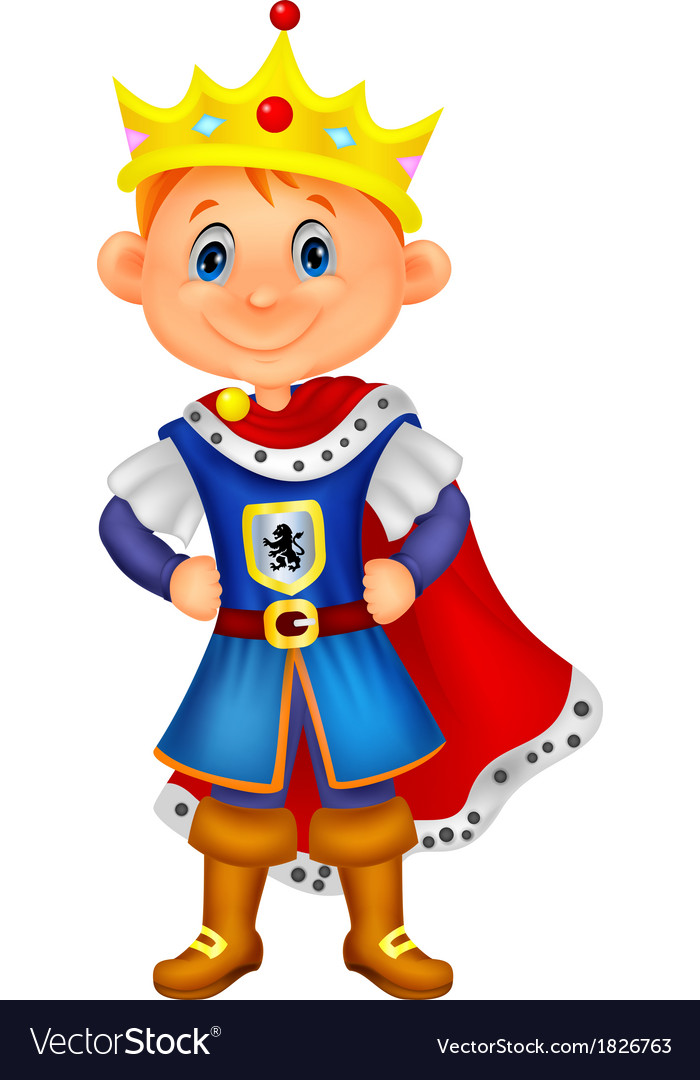 Cute boy cartoon with king costume vector