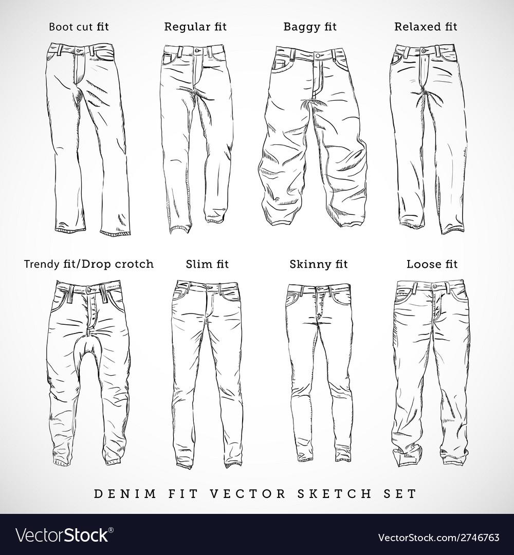 Denim fit hand drawn sketch set vector