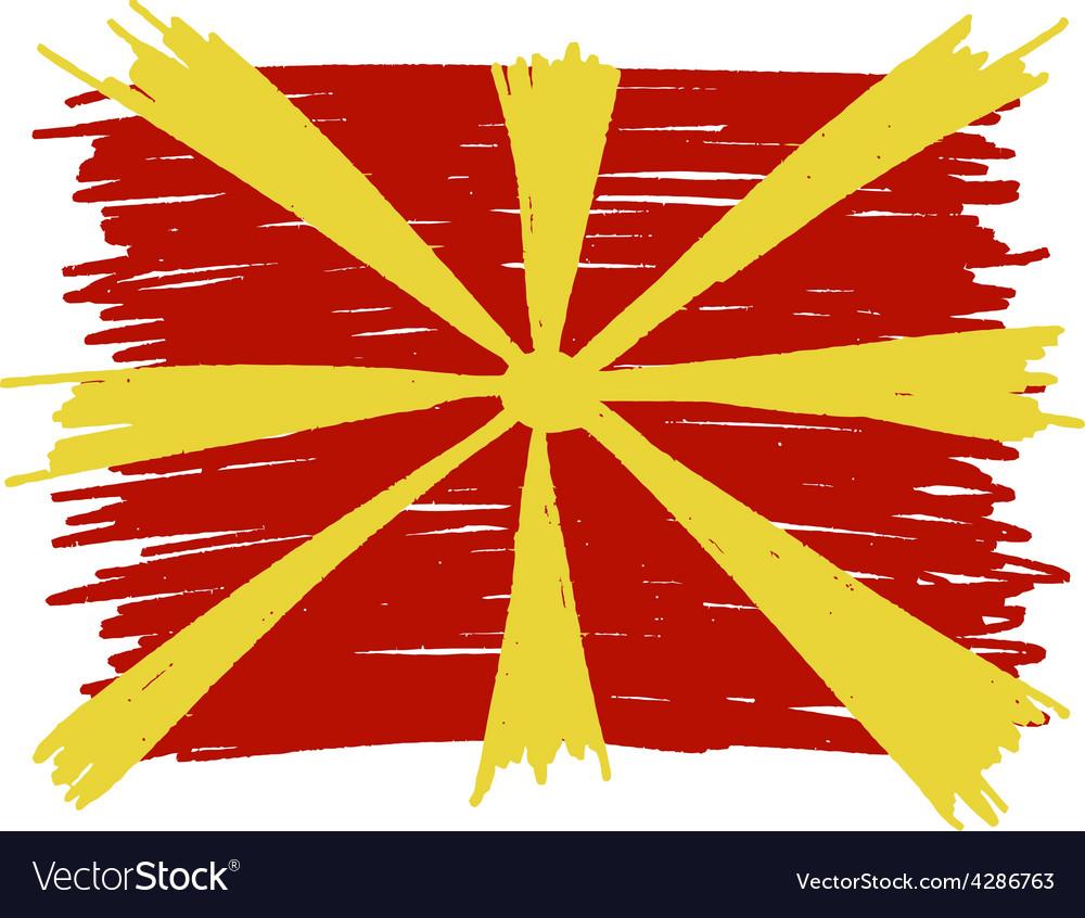 Flag of macedonia handmade vector