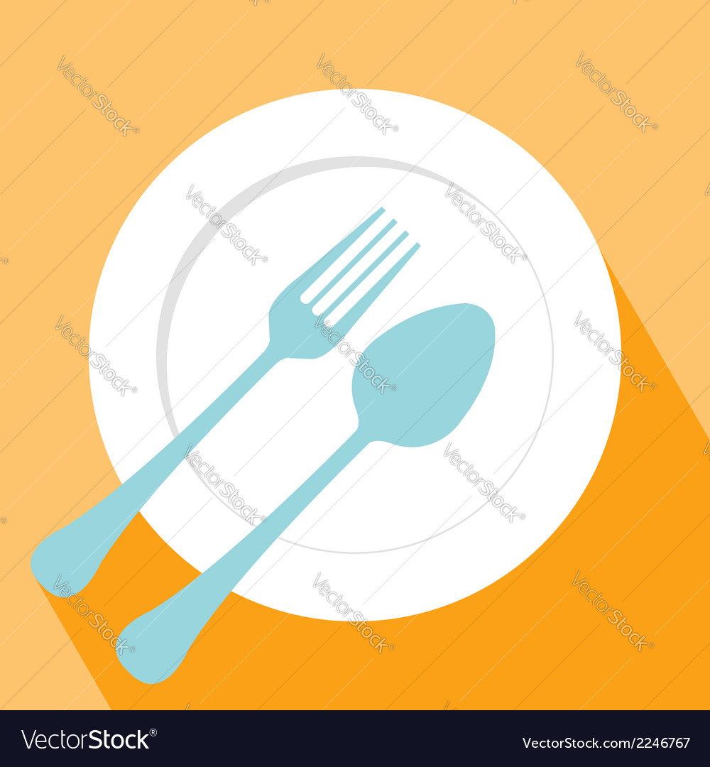Plate spoon and fork icon vector
