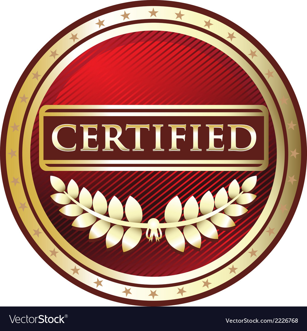 Certified red label vector