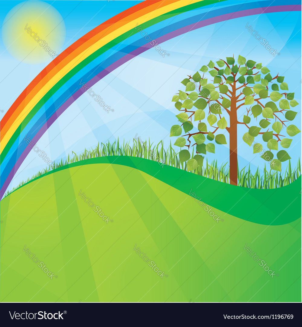 Summer or spring nature background with tree vector