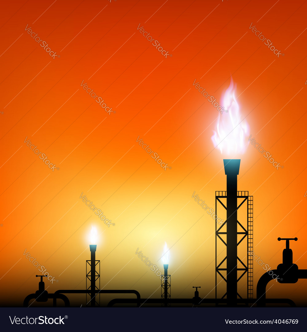 Tube with a blue flame of gas on a sunset vector