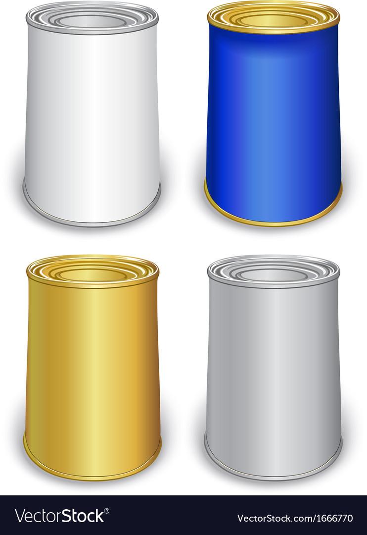 Colored tin can templates vector