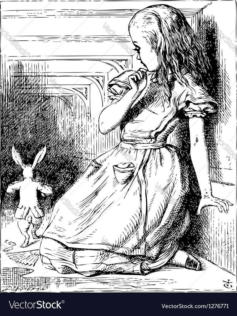 Alice white rabbit vector