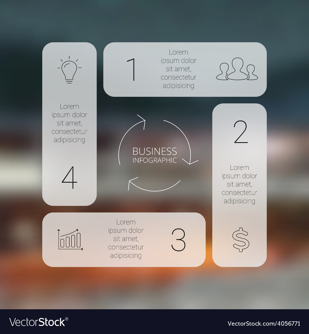 Circle line square infographic template for cycle vector