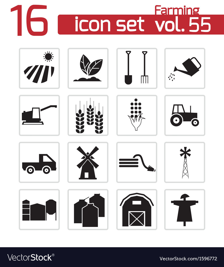 Black farming icons set vector