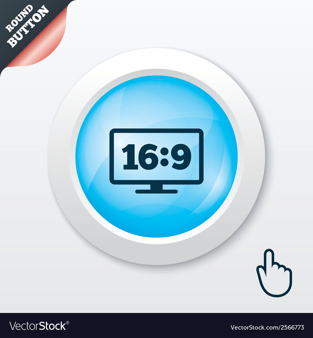 Aspect ratio 169 widescreen tv monitor symbol vector