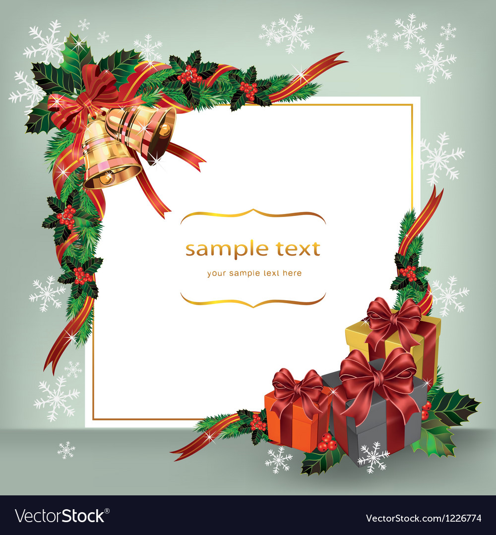 Christmas wreath with bells and gifts vector