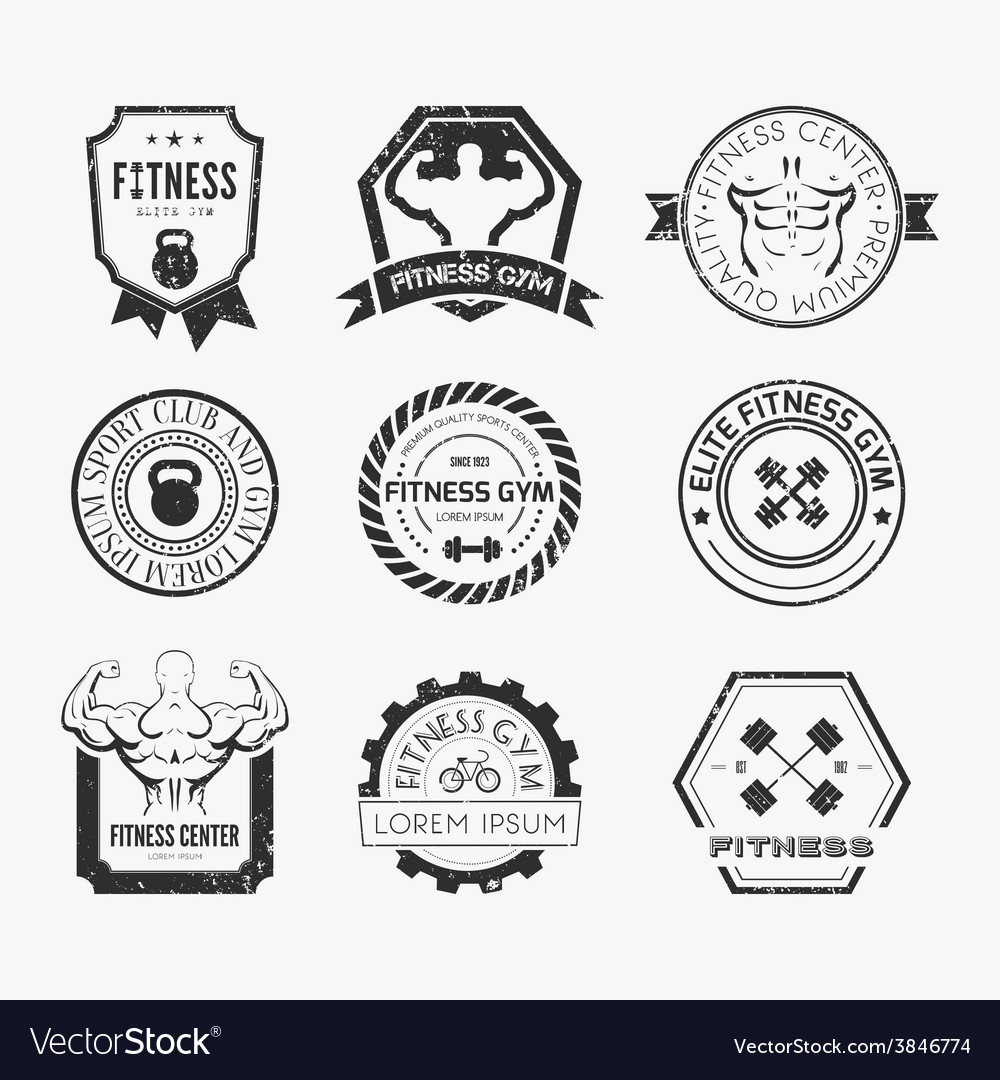 Fitness and sport gym logos vector