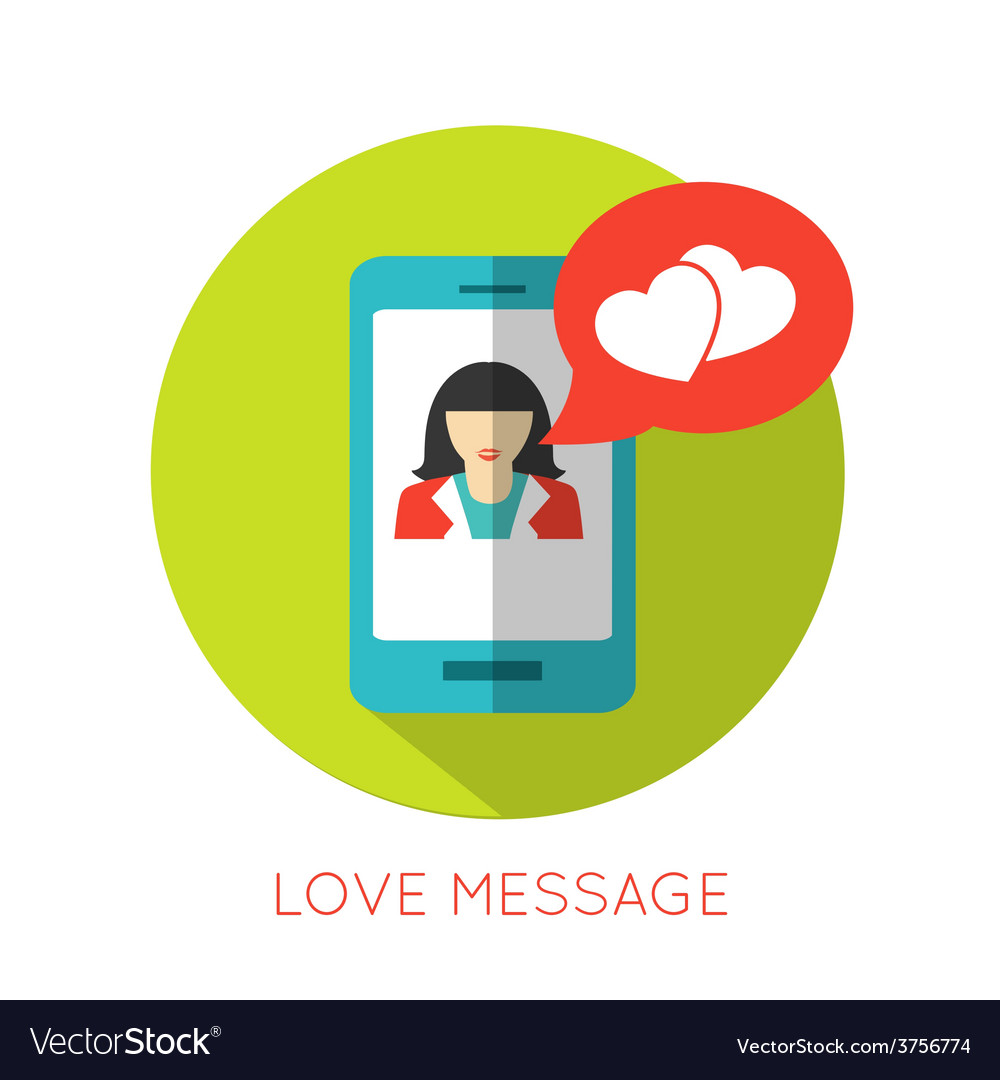 Love message flat concept valentines day icon for vector