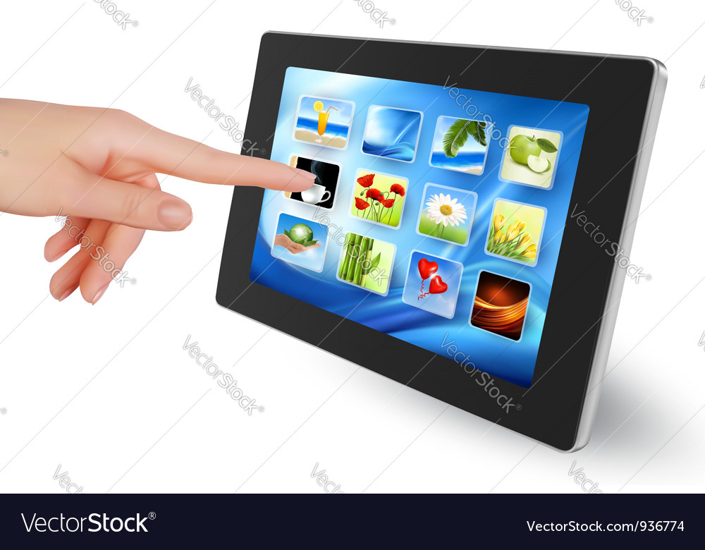 Tablet pc with icons women hand vector