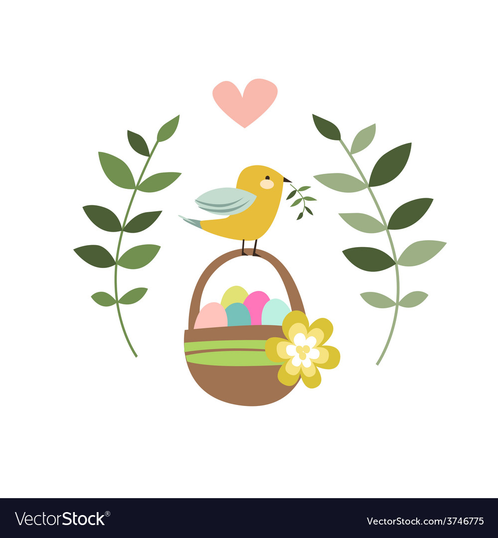 Happy easter design with bird and backet vector