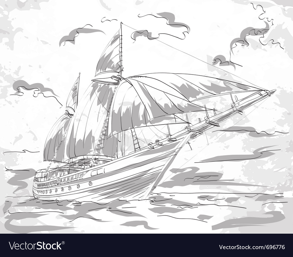 Yacht in the sea vector