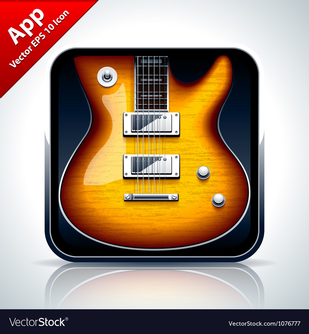 Guitar musical app icon vector