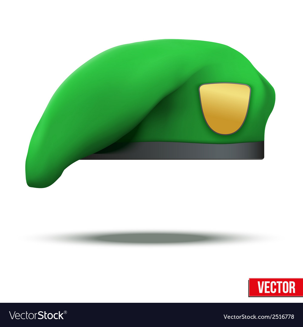 Military light green beret special forces vector