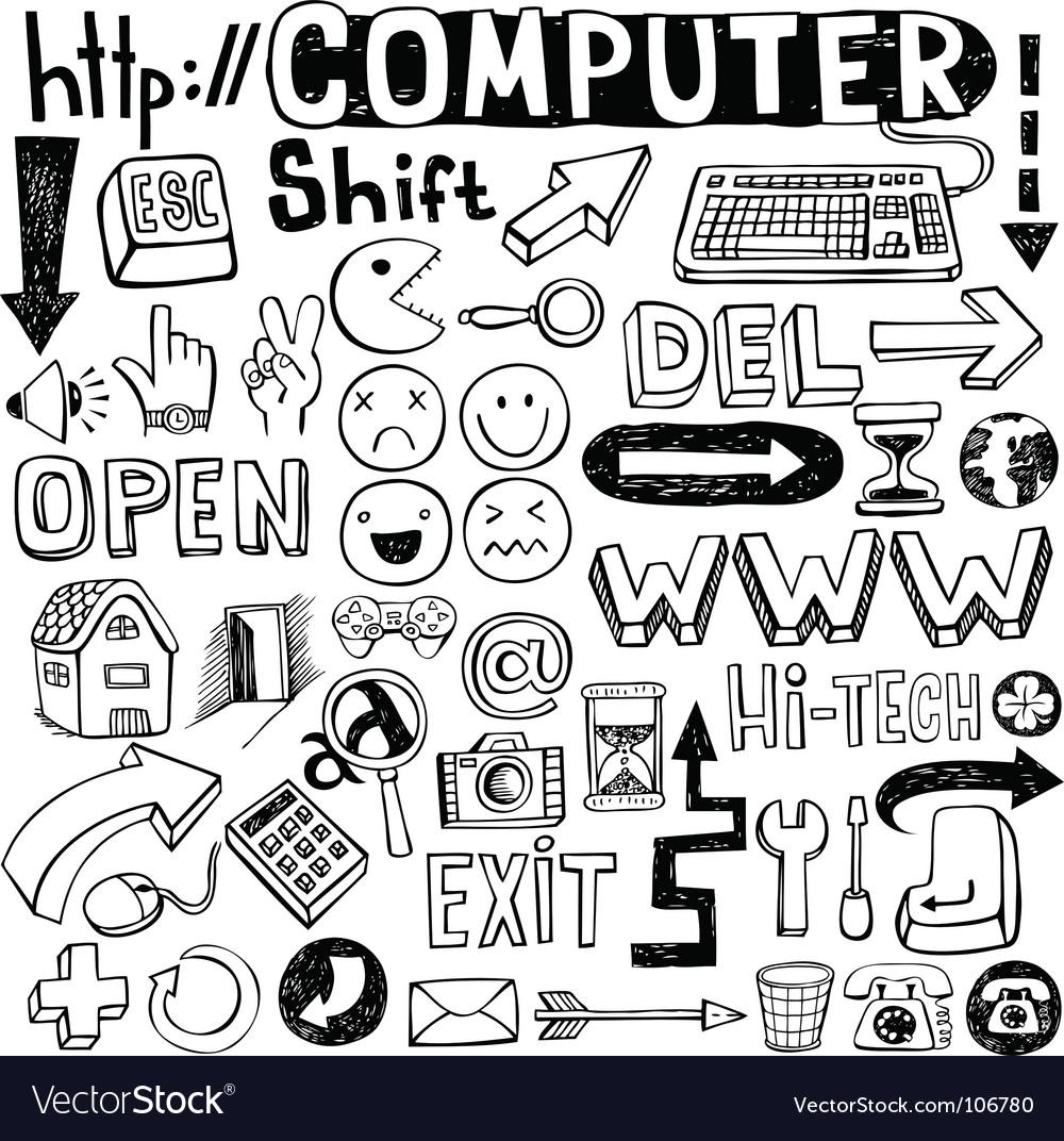 Computer doodles vector