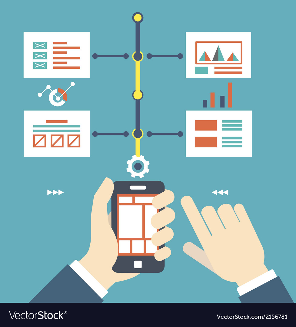 Flat of smartphone with wireframe pages vector