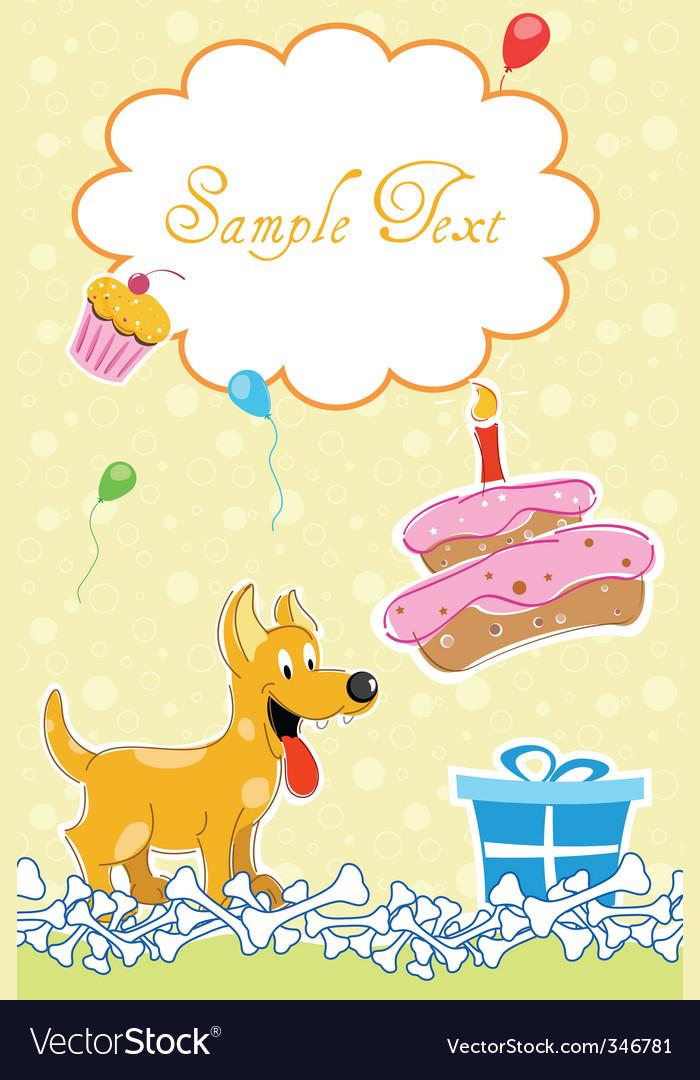Puppy in birthday card vector
