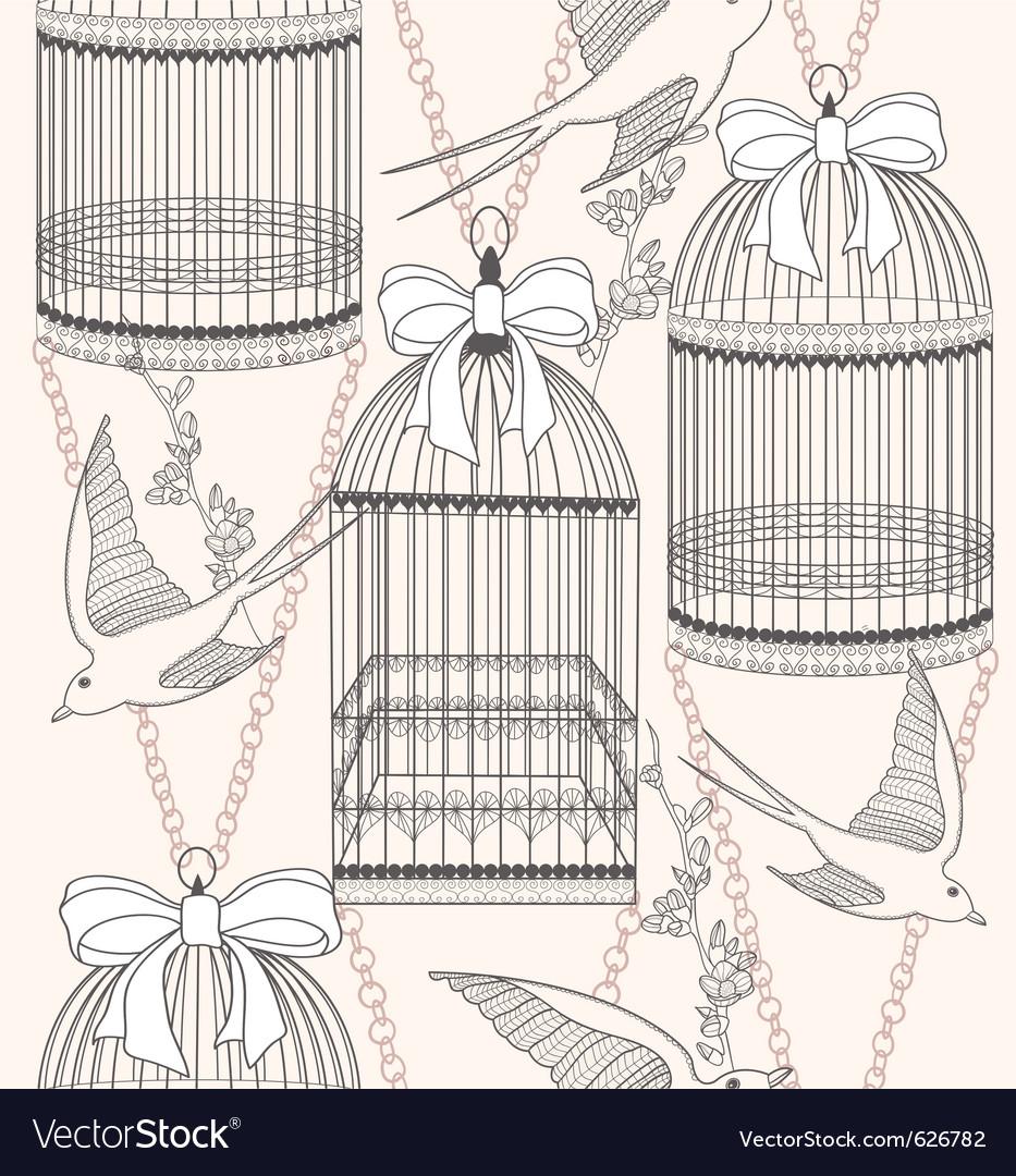 Birdcage flowers and birds vector