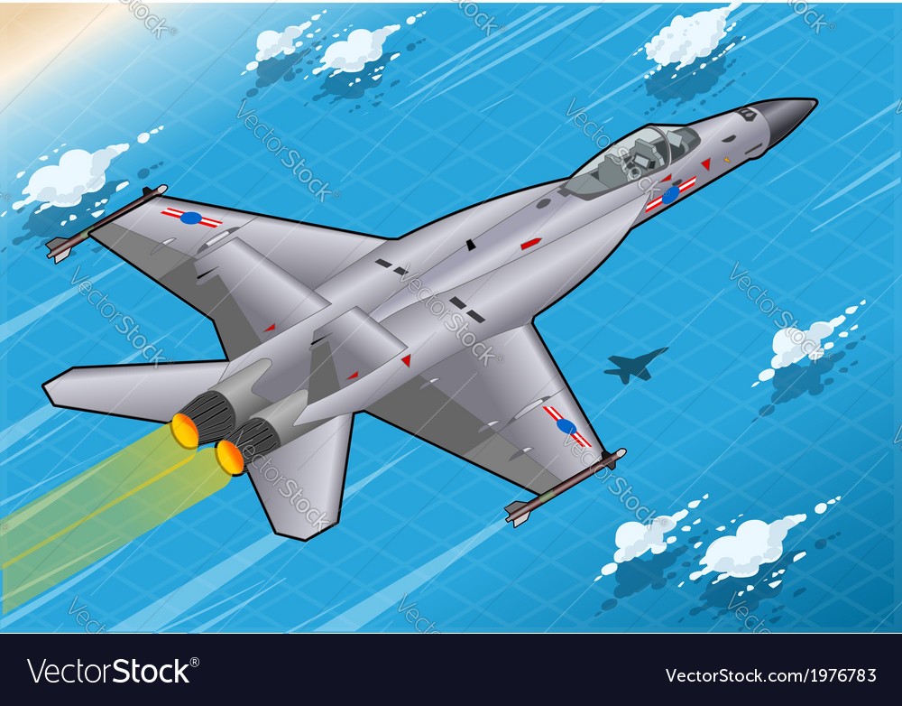 Isometric fighter bomber in flight in rear view vector