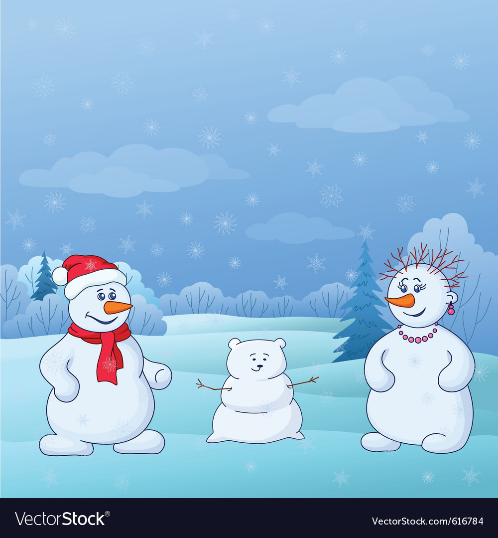 Family of snowmen vector