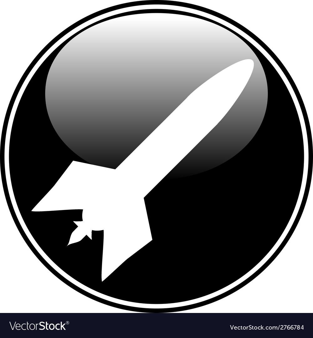 Military rocket button vector