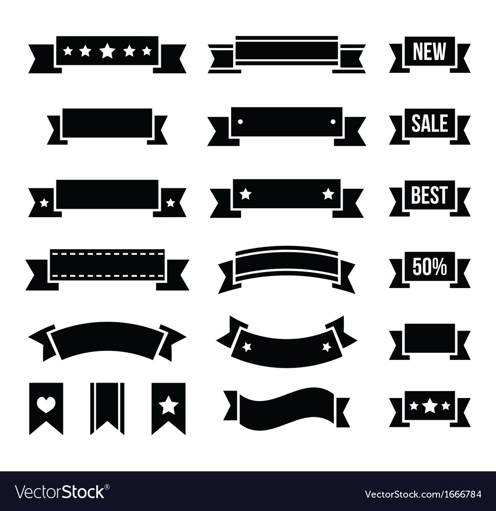 Retro ribbons vintage bookmarks set - vector