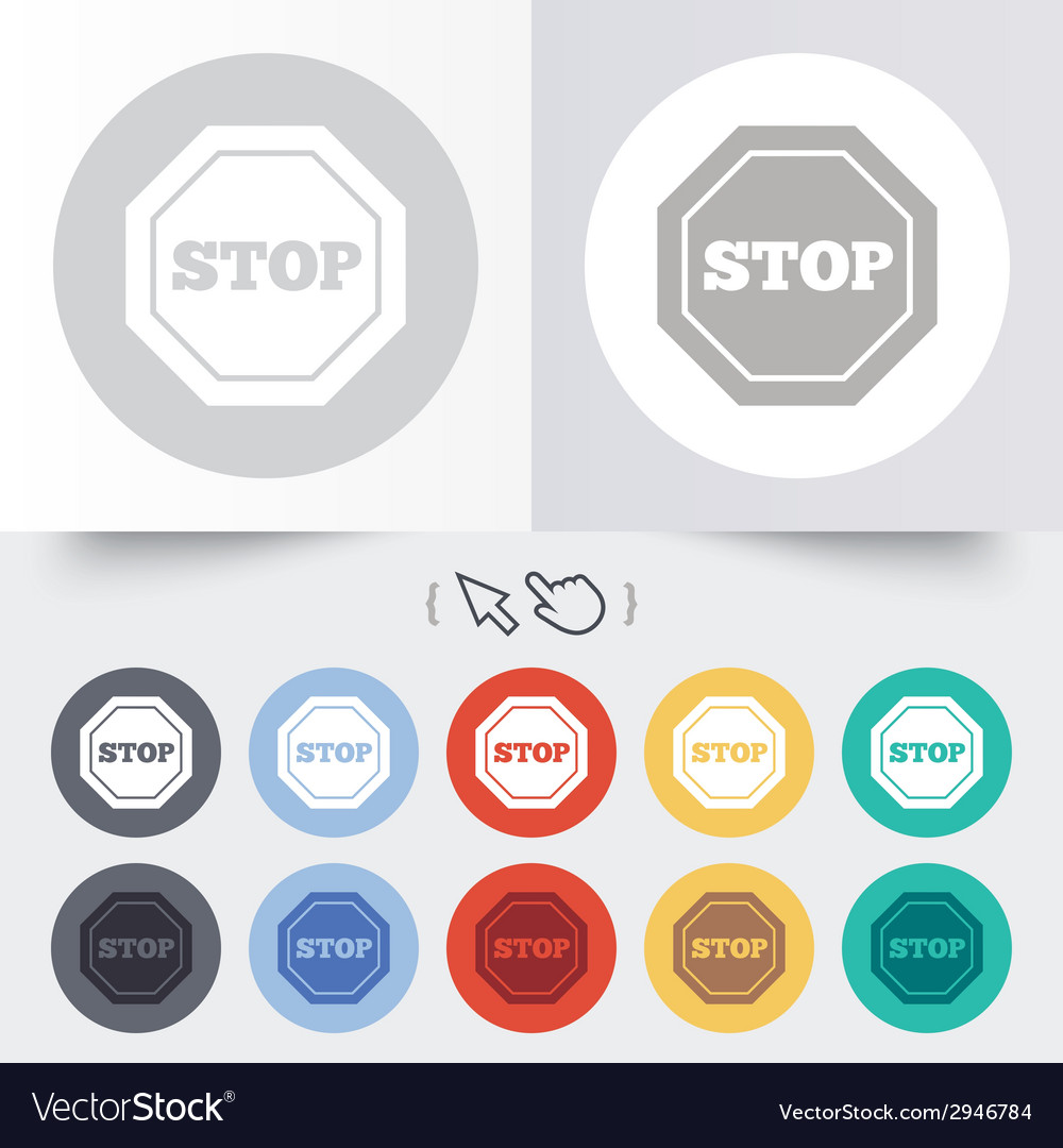 Traffic stop sign icon caution symbol vector