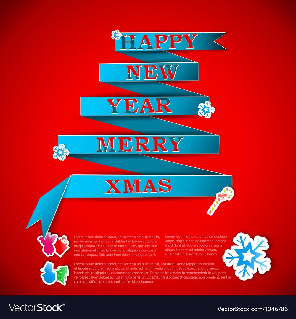 Merry xmas greeting card vector