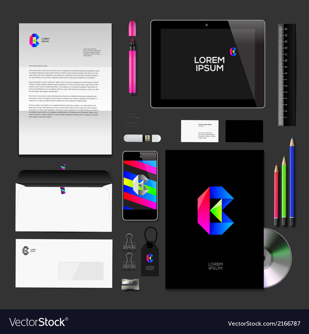 Corporate identity black mock-up classic style vector