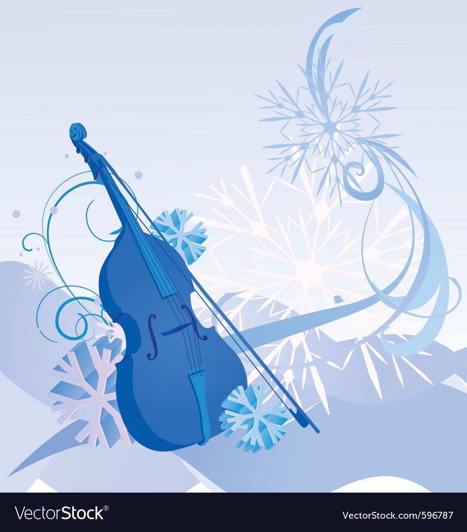 Retro violin winter vector