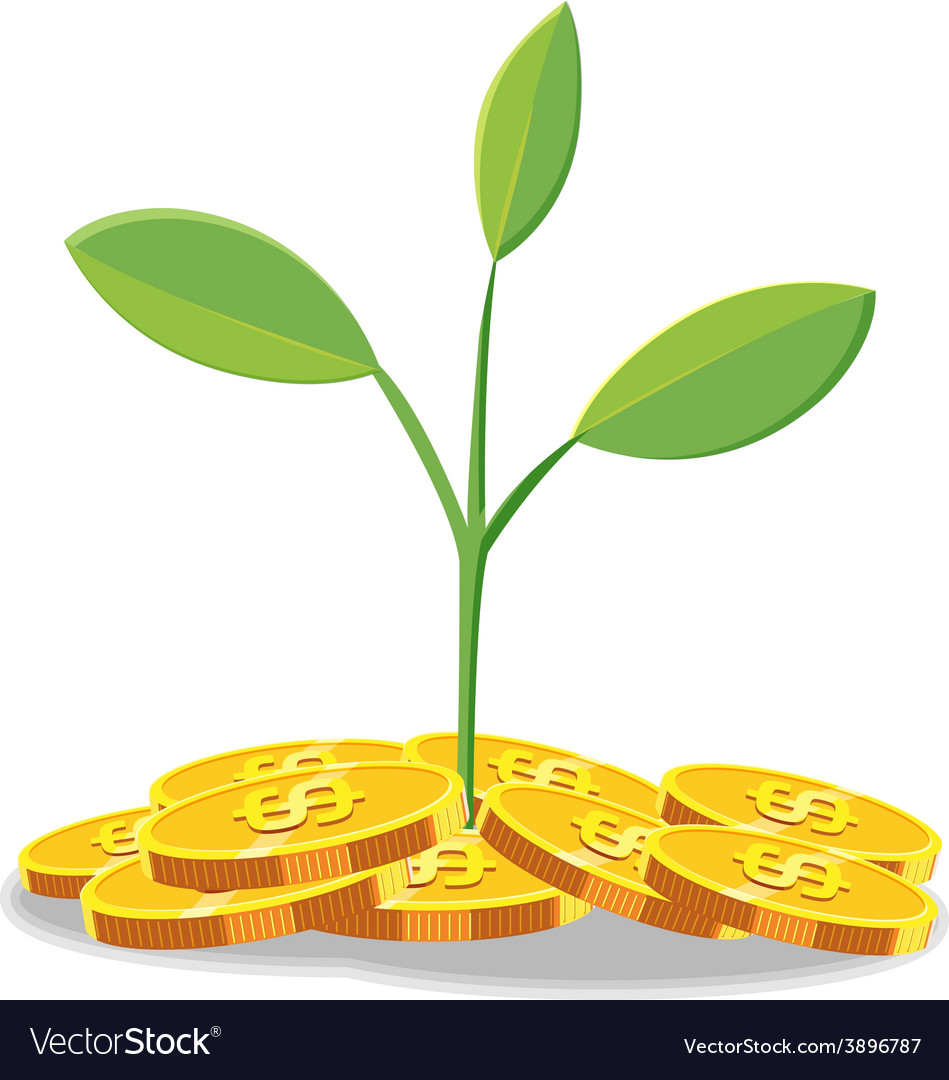 Tree finance coin cartoon vector